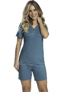 Pijama Recco Viscose Stretch C/Renda Azul