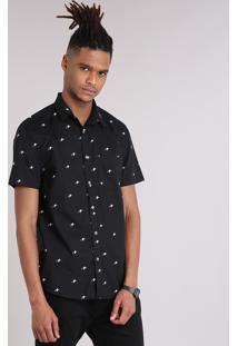 Camisa Masculina Mini Print Caveira Com Bolso Manga Curta Preta