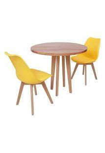 Conjunto Mesa De Jantar Em Madeira 90Cm Com Base Vértice + 2 Cadeiras Leda - Amarelo