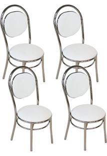 Cadeira 190 Cromada 04 Unidades Branca Carraro