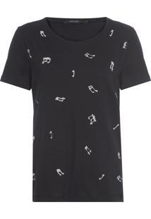 Camiseta Feminina Pois Musique - Preto