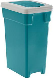 Lixeira Plastica Retangular Selecta Click 40 Litros Verde Paramount