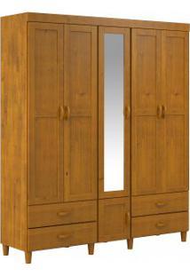 Guarda Roupa Finestra Ecco 06 Portas 04 Gavetas C/Espelho Teca