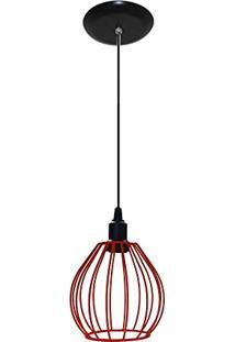 Lustre Pendente Aramado - Modelo Balão - Vermelho