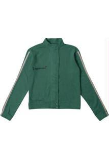 Jaqueta Verde Escuro Com Aplique Em Malha Flanel