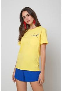 Blusa Oh, Boy! Bolso Bordado Garca Feminina - Feminino-Amarelo