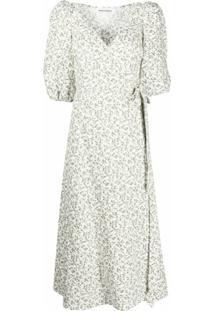 Reformation Vestido Midi Mint Com Estampa Floral - Branco