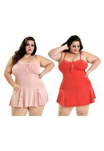 Kit 2 Camisola Plus Size Microfibra Renda Alcinha Rosê Vermelho