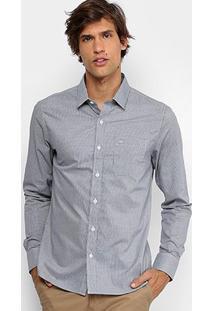 Camisa Slim Fit Calvin Klein Estampada Masculina - Masculino-Preto