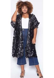 Kimono Almaria Plus Size Alt Circle Preto
