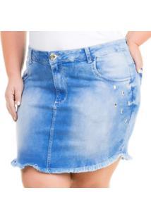 Saia Curta Jeans Com Elastano Viggo Plus Size