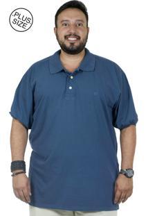 Camiseta Polo Plus Size Bigshirts Azul Marinho