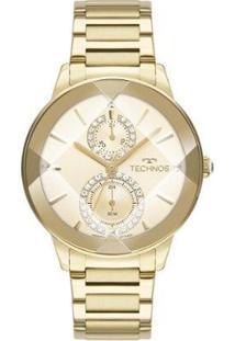 Relógio Technos Crystal Analógico Feminino - Feminino-Dourado