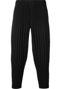 Homme Plissé Issey Miyake Pleated Drropped Crotch Trousers - Preto
