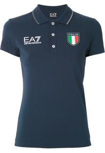 Ea7 Emporio Armani Camisa Polo Com Logo - Azul