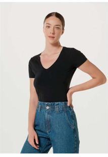 Blusa Feminina Básica Decote V Com Elastano Preto
