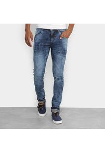 Calça Jeans Slim Coffee Marmorizada Masculina - Masculino