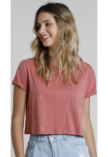 Blusa Feminina Básica Cropped Com Bolso Manga Curta Decote Redondo Rosa Escuro