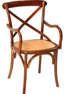 Cadeira Paris De Madeira Com Braço E Assento De Rattan