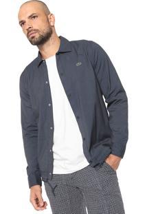 Camisa Lacoste Reta Xadrez Azul-Marinho/Preta