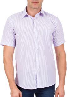 Camisa Social Masculina Lilás Listrada - 02