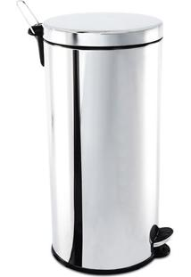 Lixeira Com Pedal- Inox & Preta- 30L- Brinoxbrinox