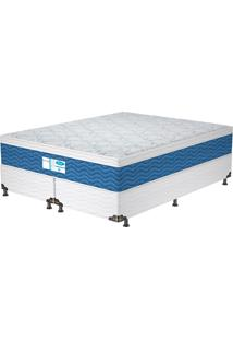 Cama Box King Prodormir Blue – Probel - Branco / Azul