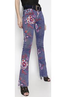 3b089d60c4 ... Jeans Low Bootcut Com Cinto - Azul Escuro   Rosa - Llança Perfume