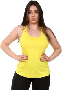 Regata Galvic Fitness Básica Amarela Lisa Corte A Fio 10146