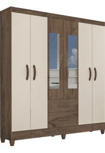 Guarda Roupa Real 6 Portas C/ Espelho Mocaccino Rústico/Natura Off White Atualle Móveis - Tricae