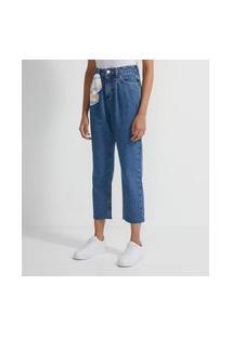 Calça Reta Cropped Jeans Com Lenço No Passantes