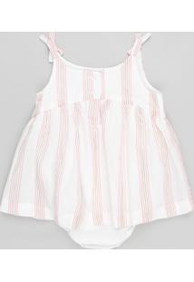 Body Blusa Infantil Listrado Com Lurex E Laço Sem Manga Branco
