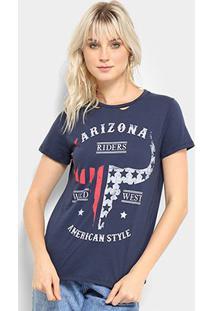 Camiseta Lez A Lez Estampada Arizona Feminina - Feminino-Marinho