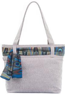 Bolsa De Praia Laço - Feminino-Cinza+Azul