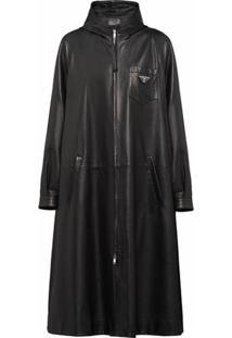 Prada Trench Coat Oversized De Couro - Preto