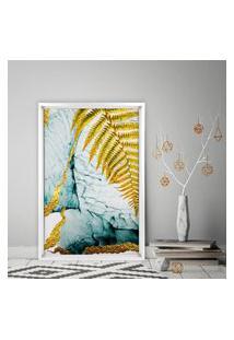 Quadro Love Decor Com Moldura Chanfrada Folha Dourada Branco - Grande