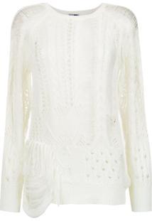 Pop Up Store Blusa De Tricô Com Franjas - Branco