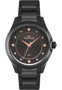 Relógio Technos Crystal Feminino - Feminino-Preto