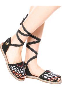 Rasteira Avarca Dafiti Shoes Bordado Preta