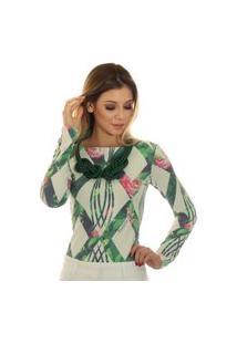Blusa Ficalinda Manga Longa Estampa Geométrica Verde Com Flores Decote Canoa