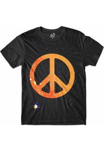 Camiseta Long Beach Psicodélica Paz E Amor Sublimada Masculina - Masculino