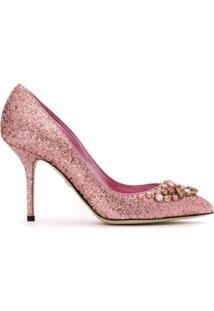 Dolce & Gabbana Scarpin Glitter Com Aplicação - 8B404