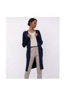 Cardigan Alongado Tricô Com Bolsos E Detalhe De Botões No Punho | Cortelle | Azul | M
