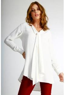 Camisa Alongada Wool Line Tricot Feminina - Feminino-Off White