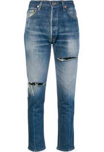 Re/Done Calça Jeans Cropped Com Desgastados - Azul