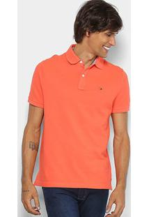 Camisa Polo Tommy Hilfiger Básica Masculina - Masculino-Coral