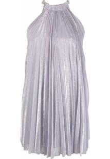 Atu Body Couture Vestido Metálico Com Pregas - Roxo