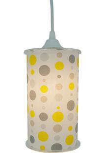 Luminária Pendente Cilíndrica Crie Casa Poás Amarelo Cinza E Branco