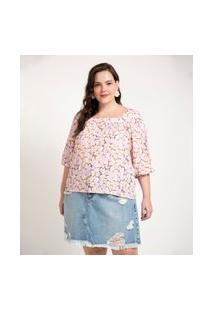 Blusa Estampada Em Viscose Curve E Plus Size Roxo