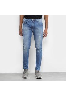 Calça Jeans Skinny Biotipo Cut Estonada Cropped Cintura Alta Masculina - Masculino-Azul